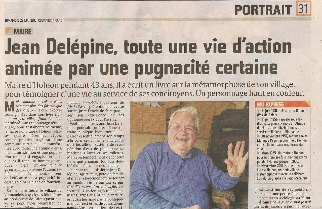 Article Jean Delépine Courrier Picard 29 mai 2016