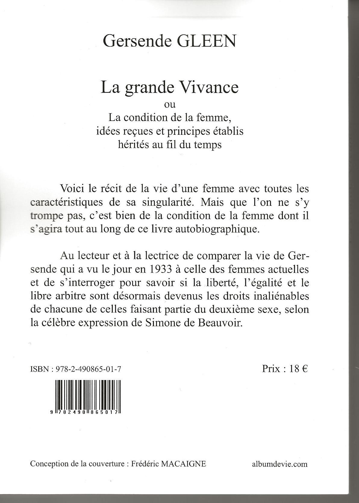 LA GRANDE VIVANCE 4ème de COUVERTURE